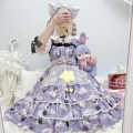 Lolita / soft girl / dress Sand of time Lolita Sky blue, black, lavender, pink, cyan One size fits all No season