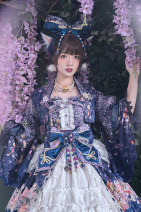Dress Spring of 2019 The default of the whole set is jsk feather woven KC cyan tail yarn, need black tail yarn, need notes, flower chant need to take one yuan to make up the service charge, inventory more convenient to take wrong remake M, L ztm03