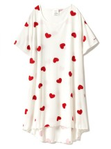Nightdress Other / other white Average size Sweet Short sleeve Leisure home Middle-skirt heart-shaped Crew neck