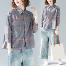 Women's large Spring 2021 Picture color L [recommended 100-165 kg], 2XL [recommended 165-230 kg] shirt singleton  commute easy moderate Cardigan Long sleeves lattice literature Polo collar routine polyester routine B0817 pocket 31% (inclusive) - 50% (inclusive)