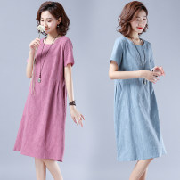 Dress Summer 2021 Light blue, pink M [suggested 100-115 kg], l [suggested 115-130 kg], XL [suggested 130-145 kg], 2XL [suggested 145-160 kg] Mid length dress singleton  Short sleeve commute Crew neck Loose waist Solid color Socket routine Type A literature H210 31% (inclusive) - 50% (inclusive)