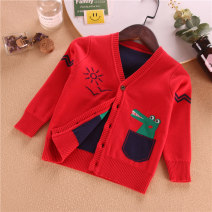 Sweater / sweater 90cm,100cm,110cm,120cm,130cm,140cm cotton male Red, gray, yellow, Navy, tea green Other / other Cartoon No model Single breasted routine V-neck nothing Fine wool Cartoon animation Cotton 67.1% polyester 32.9% Ch open button long sleeve sweater 01 fake bag dinosaur Class B