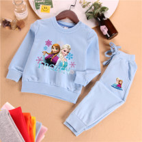 suit Other / other 90cm,100cm,110cm,120cm,130cm,140cm female spring and autumn princess Long sleeve + pants 2 pieces routine Official pictures Socket nothing Cartoon animation cotton children Expression of love MMQ pure autumn suit 736 snowflake + sister ice and snow Class B Cotton 100% Dongguan City