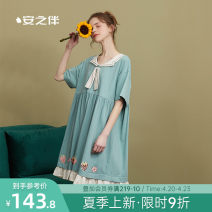 Nightdress A good companion Grey green S M L XL Sweet Short sleeve Leisure home Middle-skirt summer Solid color youth Crew neck cotton printing 81% (inclusive) - 95% (inclusive) 200g and below Summer 2021 Cotton 95% polyurethane elastic fiber (spandex) 5%