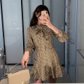 Dress Spring 2021 Picture color S,M,L Mid length dress singleton  Long sleeves commute V-neck High waist Decor zipper A-line skirt routine Others Type X Simplicity Button, fold 51% (inclusive) - 70% (inclusive) other polyester fiber