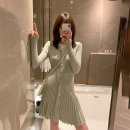 Dress Autumn 2020 Green, black S,M,L Mid length dress singleton  Long sleeves commute Crew neck High waist Solid color Single breasted A-line skirt routine Others Type A Zifan Simplicity XX19626 More than 95% other polyester fiber