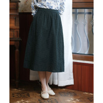 skirt Spring 2021 S,M,L,XL Black, dark green Mid length dress Versatile Natural waist A-line skirt lattice Type A 30-34 years old 51% (inclusive) - 70% (inclusive) brocade What you look like in the past and this life hemp fold