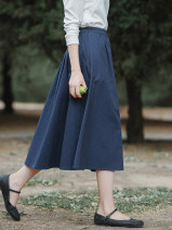 skirt Autumn of 2019 S,M,L,XL Mid length dress grace Natural waist A-line skirt Solid color Type A 25-29 years old More than 95% brocade What you look like in the past and this life cotton fold