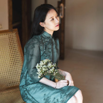 cheongsam Spring 2021 S,M,L,XL Long sleeves long cheongsam Retro Low slit daily Oblique lapel Solid color 25-35 years old Piping What you look like in the past and this life polyester fiber