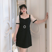 Women's large Summer 2020 Black spot Big L, big XL, big XXL, big XXXL, big XXXXL, big M Dress singleton  commute Self cultivation moderate Socket Short sleeve Solid color square neck Three dimensional cutting puff sleeve 25-29 years old Diamond inlay Short skirt