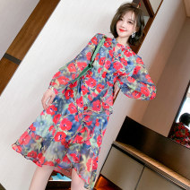 Dress Spring 2021 Red, blue S,M,L,XL,2XL,3XL Middle-skirt singleton  Long sleeves commute stand collar High waist Socket Ruffle Skirt routine Others Type X miuco Ol style Ruffles, stitching, printing