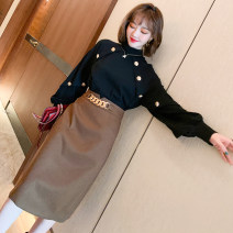 Dress Winter 2020 Black, black with coffee S,M,L,XL,2XL,3XL Mid length dress Fake two pieces Long sleeves commute Half high collar Solid color other other bishop sleeve Others Type H miuco Ol style Stitching, stereo decoration, buttons D-69923