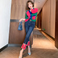 Fashion suit Spring 2021 XS,S,M,L,XL,2XL,3XL Color matching + denim blue and rose red miuco T2355P0929