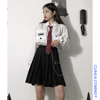 skirt Spring 2021 M, L Plaid skirt, black skirt, chain Short skirt commute High waist Pleated skirt lattice Type A 18-24 years old 51% (inclusive) - 70% (inclusive) Other / other Korean version