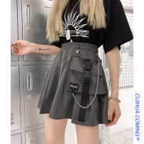 skirt Summer 2020 M, L Grey (with chain), black (with chain) Short skirt commute High waist A-line skirt Solid color Type A 18-24 years old 51% (inclusive) - 70% (inclusive) other Other / other cotton pocket Korean version