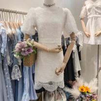 Dress Summer 2020 White, pink S, M singleton  Short sleeve Crew neck High waist Solid color Socket Irregular skirt puff sleeve 31% (inclusive) - 50% (inclusive)