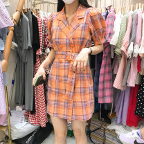 Dress Summer 2020 Red, orange S,M,L Mid length dress singleton  Short sleeve tailored collar Loose waist lattice double-breasted puff sleeve