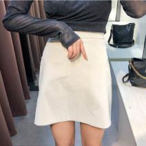 skirt Autumn 2020 S,M,L Black, Burgundy, apricot Short skirt Versatile High waist A-line skirt Solid color Type A 31% (inclusive) - 50% (inclusive)