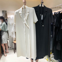 Dress Summer 2021 Apricot, black, purple Average size Mid length dress singleton  Short sleeve tailored collar Loose waist Solid color A button other routine 31% (inclusive) - 50% (inclusive)