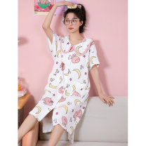 Nightdress Damos.love/daimengsi Picture color 160(M) 165(L) 170(XL) Cartoon Short sleeve Leisure home Middle-skirt summer Cartoon animation youth Small lapel cotton printing More than 95% pure cotton 200g and below Summer 2021 Cotton 100% Pure e-commerce (online only)