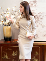 cheongsam Winter of 2019 S M L XL XXL Long sleeves long cheongsam grace High slit Over 35 years old Ruyifeng polyester fiber Polyester 85% wool 15% Pure e-commerce (online only)