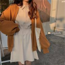 Dress Winter 2020 Black, apricot Average size singleton  Long sleeves commute Polo collar High waist Solid color other other other Others 18-24 years old Type A 71% (inclusive) - 80% (inclusive) other other