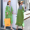 Dress Summer 2020 Average size Mid length dress Fake two pieces Short sleeve commute Crew neck Solid color Socket Ruffle Skirt routine Others 18-24 years old Han shangjiapin 308# More than 95% other cotton
