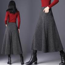 Casual pants Dark grey black S M L XL 2XL 3XL Winter of 2018 Cropped Trousers Wide leg pants High waist 6671# A lady of virtue Other 100.00%