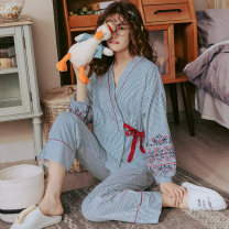 Pajamas / housewear set female A lady of virtue S (70-85 kg) m (80-100 kg) l (100-120 kg) Y1332* Y2727* Y2728* Y2729* Y2730* Y2731* Y2732* Y2733* Y2734* Y2735* Y2736* Y2737* Y2738* Y2739* Y2740* Y2741* Y2742* cotton Long sleeves Sweet Leisure home autumn Thin money Crew neck stripe trousers Tether