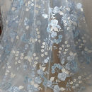 Fabric / fabric / handmade DIY fabric chemical fiber Blue, one yard price 90cm Loose shear piece Plants and flowers printing and dyeing clothing Countryside SASKIA Zhejiang Province Shaoxing Chinese Mainland