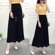 Casual pants Black, Burgundy, Navy, grey, pink, khaki Small size [suitable for 80-130 kg], large size [suitable for 130-160 kg] Summer 2020 Ninth pants Wide leg pants High waist commute Thin money 18-24 years old 71% (inclusive) - 80% (inclusive) other lady belt spandex