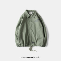 Jacket Other / other Youth fashion Khaki, green, black M,L,XL routine easy Other leisure spring Long sleeves Wear out Lapel Japanese Retro youth routine Single breasted 2018 other No iron treatment Closing sleeve other printing Side seam pocket cotton More than 95%