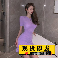 Dress Summer 2020 Pink, purple S, M Short skirt singleton  Short sleeve commute Crew neck High waist Solid color Socket Ruffle Skirt routine Others 18-24 years old Type X lady Resin fixation, splicing, Auricularia auricula, folding, pleating, ruffle 91% (inclusive) - 95% (inclusive) other