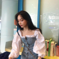 Dress Autumn of 2019 Picture color, white and blue mosaic color XS,S,M,L Short skirt Fake two pieces Long sleeves commute square neck High waist Single breasted A-line skirt Others 18-24 years old Type A Korean version