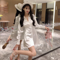 Dress Autumn of 2019 White, black S, M Short skirt singleton  Long sleeves Sweet Double collar High waist Solid color Single breasted A-line skirt shirt sleeve Others 18-24 years old Type A Button, tuck other Ruili