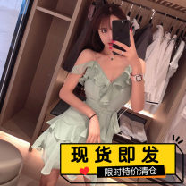 Dress Summer of 2019 green S, M Short skirt singleton  Sleeveless commute V-neck High waist Solid color Socket Ruffle Skirt Flying sleeve Others 18-24 years old Type A Korean version Lace, diamond, Ruffle 51% (inclusive) - 70% (inclusive) Chiffon polyester fiber