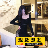 Dress Winter 2020 White, black S, M Short skirt singleton  Long sleeves commute V-neck High waist Solid color Socket One pace skirt routine camisole 18-24 years old Type H Space of Youwu City Splicing polyester fiber