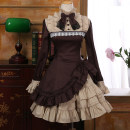 Dress Autumn 2020 Middle-skirt Two piece set Long sleeves Sweet stand collar middle-waisted Solid color zipper Princess Dress Princess sleeve Others Type A More than 95% other cotton Lolita