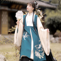 Hanfu 96% and above Dark green long shirt + apricot Bijia + horse face skirt, apricot long shirt + dark green Bijia + horse face skirt, dark green long shirt, apricot long shirt, apricot Bijia, dark green Bijia, horse face skirt S,M,L polyester fiber
