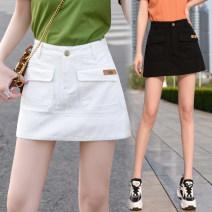 skirt Summer 2020 S,M,L,XL,2XL,3XL,4XL,5XL White, black Short skirt Versatile High waist A-line skirt Type A 91% (inclusive) - 95% (inclusive) Denim Other / other cotton Pocket, button, zipper