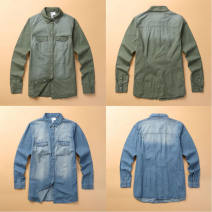 shirt Light blue, army green XXS【0】,XS【2】,S【4】,M【6】,L【8】,XL【10】,XXL【12】,XXXL【14】,XXXXL【16】 Autumn 2016 cotton 96% and above Long sleeves Versatile Regular V-neck Single row multi button routine Solid color 25-29 years old Self cultivation Vellmentto / valmonto NZRZ006 Beads, stitches, rivets, pockets