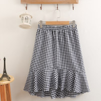 Women's large Spring 2021 Black, Navy Large XL, large XXL, large XXL, large XXXXL, large XXXXL skirt singleton  commute easy thin lattice Korean version Cotton, others 81% (inclusive) - 90% (inclusive) Medium length