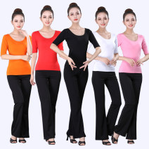 Yoga clothes female suit female sex Spring and summer No chest pads Flared trousers Socket Short sleeve trousers