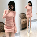 Dress Spring 2021 Pink Average size Short skirt singleton  Long sleeves commute Half high collar High waist Solid color Socket One pace skirt routine Others 18-24 years old Type H Ol style 81% (inclusive) - 90% (inclusive) other