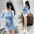 Dress Autumn 2020 blue S,M,L,XL Short skirt singleton  Long sleeves commute Crew neck High waist Solid color Socket One pace skirt routine Others 18-24 years old Type H Ol style other
