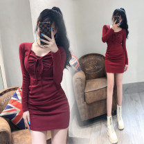 Dress Spring 2021 claret S,M,L Middle-skirt singleton  Long sleeves commute V-neck High waist Solid color Socket One pace skirt routine Others 18-24 years old Type H Ol style