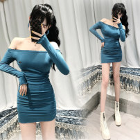 Dress Autumn 2020 blue S,M,L Short skirt singleton  Long sleeves commute One word collar High waist Solid color Socket One pace skirt routine Others 18-24 years old Type H Ol style 81% (inclusive) - 90% (inclusive) other