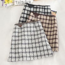 skirt Autumn 2020 S. M, l, XL, the size of Jian is too small, it's suggested to take a bigger size Grey, black, brown Short skirt Versatile High waist A-line skirt Solid color Type A 18-24 years old 30% and below other