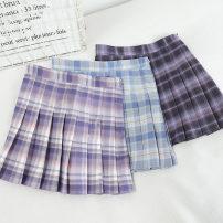 skirt Spring 2021 S,M,L,XL Light purple, dark purple, blue Short skirt Versatile High waist Pleated skirt lattice Type A 18-24 years old 30% and below