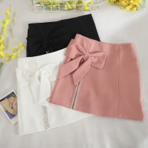 skirt Summer 2020 S,M,L,XL Black, white, pink Short skirt fresh High waist A-line skirt Solid color Type A 18-24 years old other